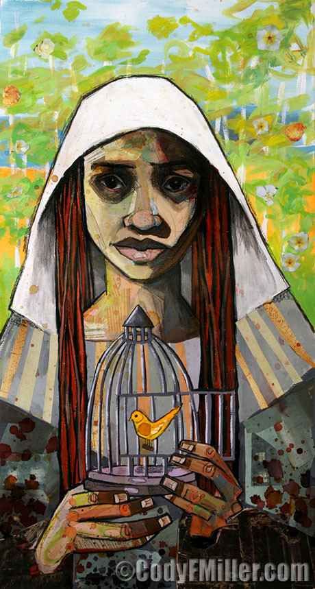 """""""Canary in a Coal Mine II"""" Esther Original Mixed Media, 14"""" x 27"""" -sold-"""