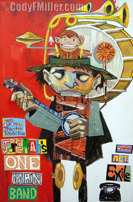 """Jeremiah's One Man Band"" Jeremiah original mixed media, 19.5"" x 29"" $1050"