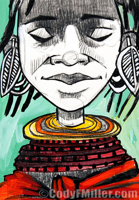 """Letters: A Turkana Woman"" II Corinthians 3:2-3 Original Mixed Media, 5"" x 7"" -sold-"
