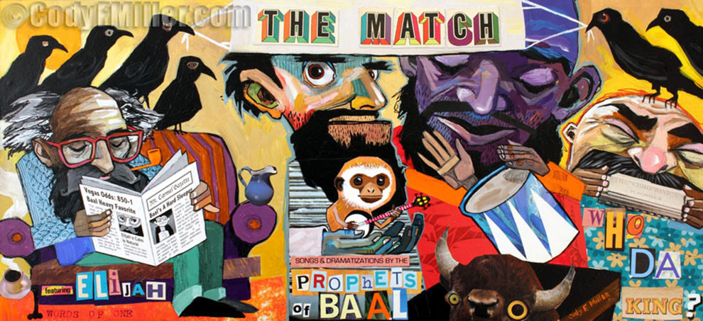 """The Match"" I Kings 18:20-40 Original Mixed Media, 36"" x 17"" -sold-"