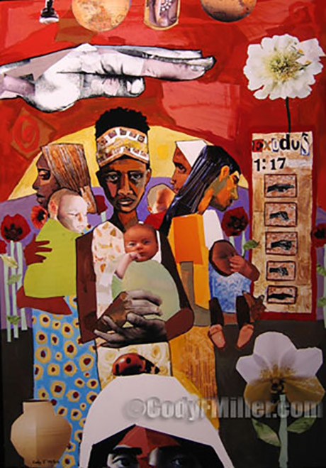 """The Midwives"" Exodus 1:17 Original Mixed Media, 24"" x 36.5"" -sold-"