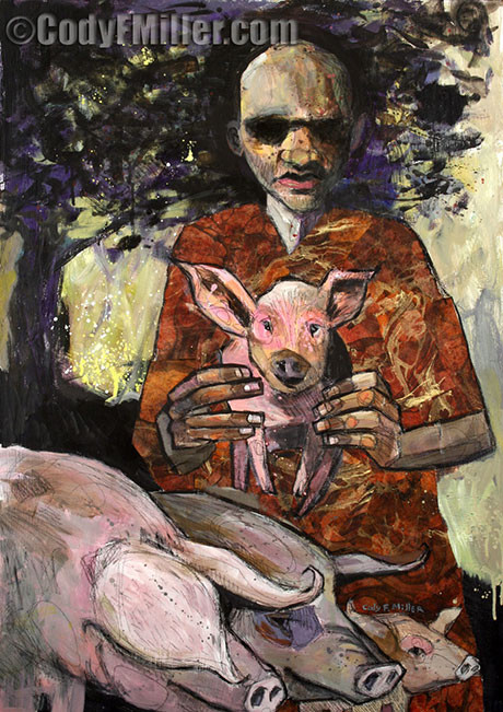 """The Prodigal Son in the Pigsty"" Luke 15:11-32 Original Mixed Media, 24"" x 34"" $1050"